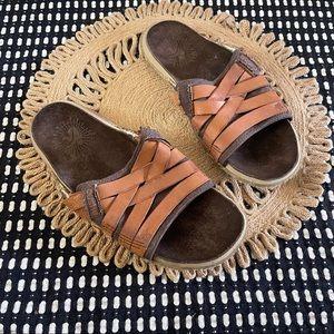 New Cushe Manuka strap men's leather slide sandals